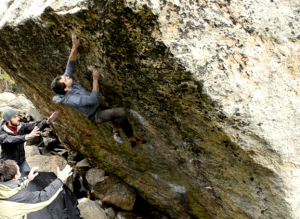 Zach on an unsuccessful flash attempt of No More Greener Grasses, V12, in Mount Evans Colorado. Stay tuned next month for a video of Zach attempting several problems around Colorado.